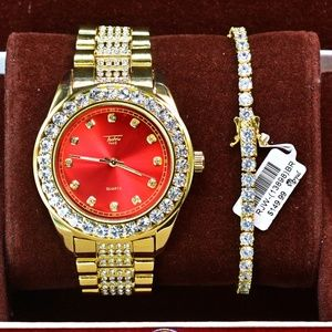 Other - Iced Out Watch and Gold PlatedT Tennis Bracelet